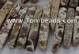 CAG9654 Top drilled 7*20mm - 9*40mm sticks ocean agate beads