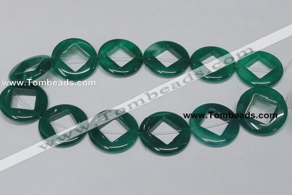 CAG966 15.5 inches 32mm donut green agate gemstone beads wholesale