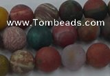 CAG9667 15.5 inches 8mm round matte ocean agate beads wholesale