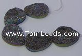 CAG9674 7.5 inches 30*40mm teardrop rainbow plated druzy agate beads