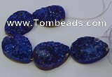 CAG9676 7.5 inches 30*40mm teardrop blue plated druzy agate beads