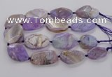 CAG9758 15.5 inches 30*35mm - 35*45mm faceted freeform agate beads
