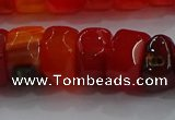 CAG9781 15.5 inches 8*16mm faceted rondelle agate gemstone beads