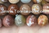 CAG9811 15.5 inches 6mm faceted round wood agate beads