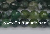 CAG9824 15.5 inches 6mm faceted round moss agate beads