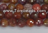 CAG9845 15.5 inches 4mm faceted round red moss agate beads