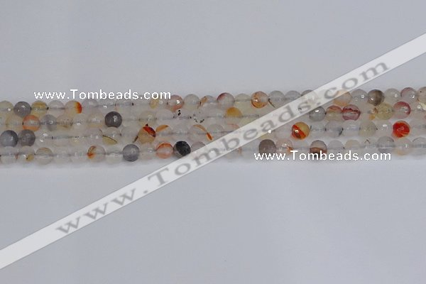 CAG9889 15.5 inches 4mm faceted round dendritic agate beads