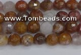 CAG9910 15.5 inches 4mm faceted round red moss agate beads
