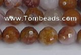 CAG9912 15.5 inches 8mm faceted round red moss agate beads