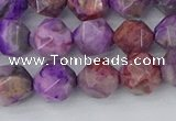 CAG9946 15.5 inches 8mm faceted nuggets purple crazy lace agate beads
