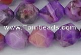 CAG9948 15.5 inches 12mm faceted nuggets purple crazy lace agate beads