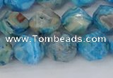 CAG9959 15.5 inches 10mm faceted nuggets blue crazy lace agate beads