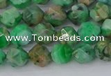 CAG9963 15.5 inches 6mm faceted nuggets green crazy lace agate beads