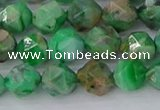 CAG9964 15.5 inches 8mm faceted nuggets green crazy lace agate beads