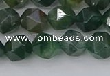 CAG9970 15.5 inches 8mm faceted nuggets moss agate beads