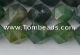 CAG9971 15.5 inches 10mm faceted nuggets moss agate beads