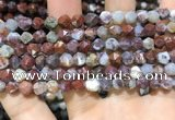CAG9987 15.5 inches 6mm faceted nuggets red lightning agate beads