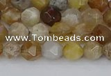 CAG9993 15.5 inches 6mm faceted nuggets ocean fossil agate beads