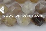 CAG9995 15.5 inches 10mm faceted nuggets ocean fossil agate beads