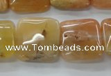 CAJ117 15.5 inches 20*20mm square red aventurine jade beads