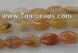 CAJ123 15.5 inches 8*12mm oval red aventurine jade beads