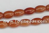 CAJ150 15.5 inches 8*12mm rice red aventurine jade beads