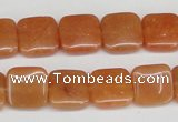 CAJ155 15.5 inches 12*12mm square red aventurine jade beads