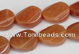CAJ172 15.5 inches 13*18mm twisted oval red aventurine jade beads
