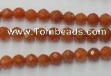 CAJ361 15.5 inches 6mm faceted round red aventurine beads wholesale