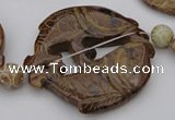 CAL30 14.5 inches 54*56mm carved fish agalmatolite beads