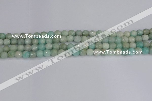 CAM1451 15.5 inches 6mm faceted round amazonite gemstone beads