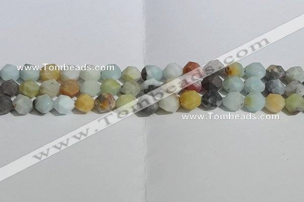 CAM1489 15.5 inches 10mm faceted nuggets matte black amazonite beads