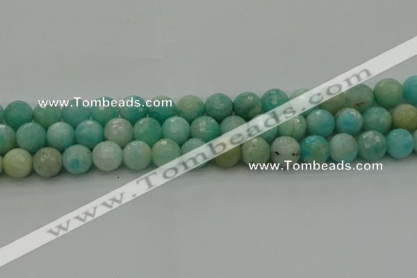 CAM1563 15.5 inches 10mm faceted round Russian amazonite beads