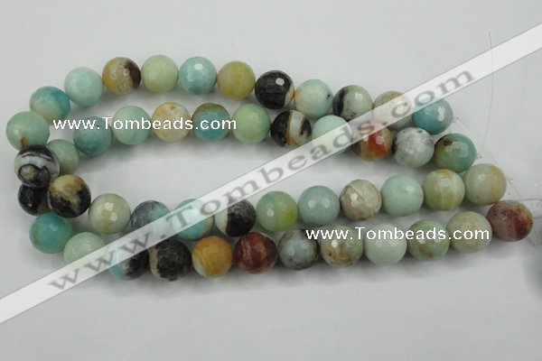 CAM167 15.5 inches 18mm faceted round amazonite gemstone beads