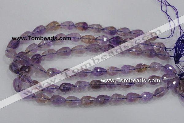 CAN24 15.5 inches 12*16mm faceted teardrop natural ametrine beads