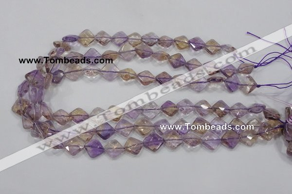 CAN34 15.5 inches 12*12mm faceted diamond natural ametrine beads