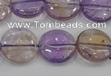 CAN44 15.5 inches 18mm flat round natural ametrine gemstone beads