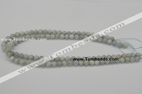 CAQ105 15.5 inches 14mm round AB grade natural aquamarine beads