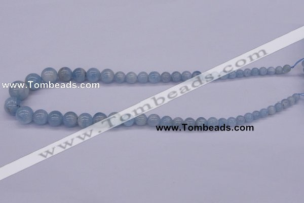 CAQ128 15.5 inches multi-size round natural aquamarine beads wholesale