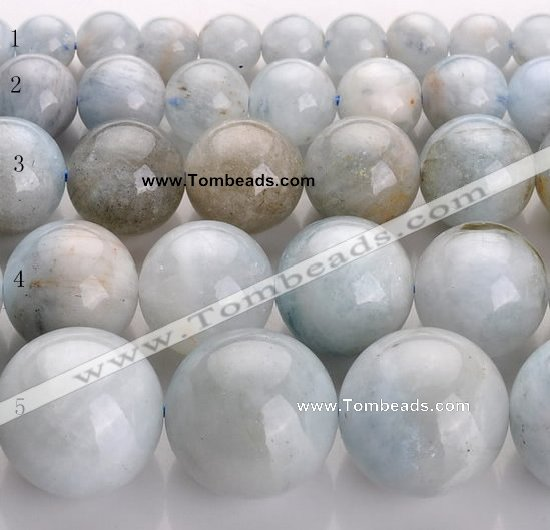 CAQ14 Multi sizes round natural aquamarine gemstone beads wholesale
