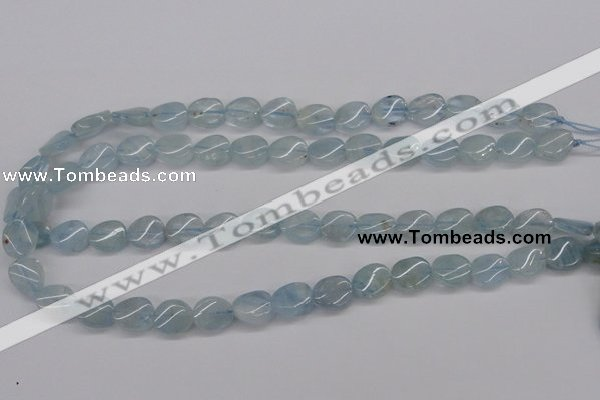 CAQ150 15.5 inches 10*12mm twisted oval natural aquamarine beads