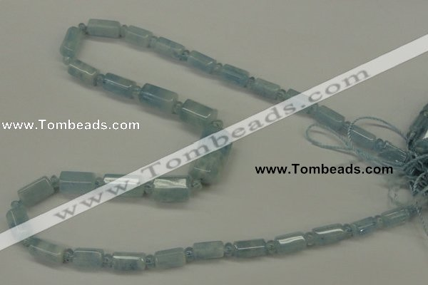 CAQ160 15.5 inches rondelle & faceted column natural aquamarine beads