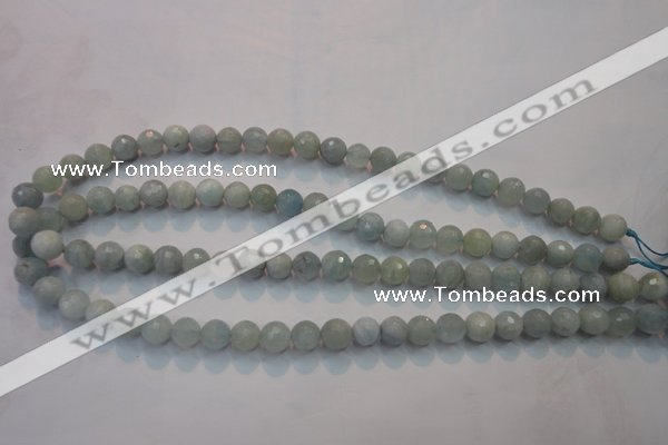 CAQ222 15 inches 6mm faceted round aquamarine beads wholesale
