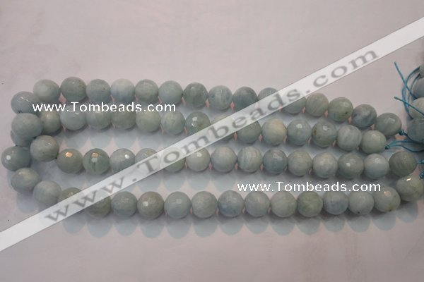CAQ225 15 inches 12mm faceted round aquamarine beads wholesale