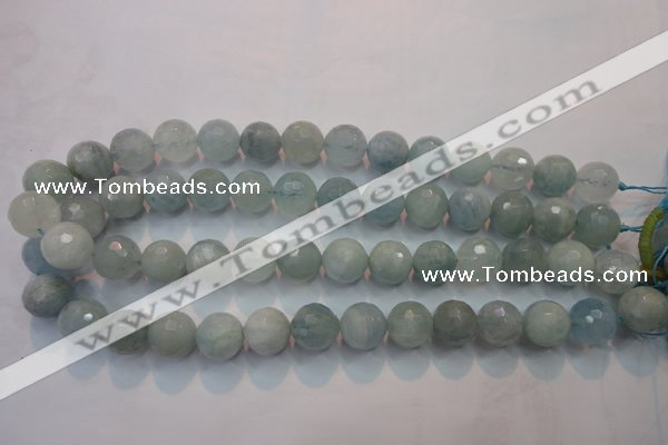 CAQ226 15 inches 14mm faceted round aquamarine beads wholesale