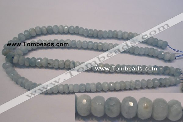 CAQ307 15.5 inches 6*10mm faceted rondelle natural aquamarine beads