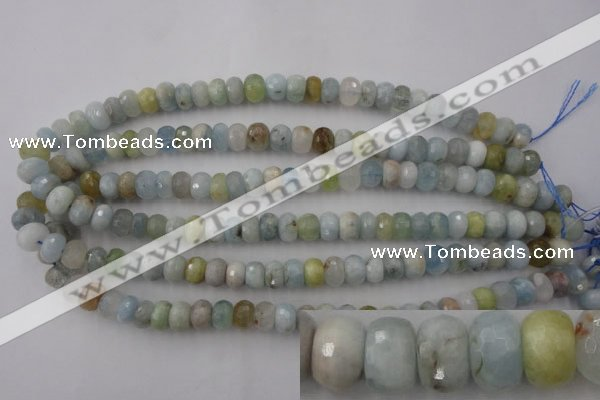 CAQ356 15.5 inches 7*11mm faceted rondelle natural aquamarine beads