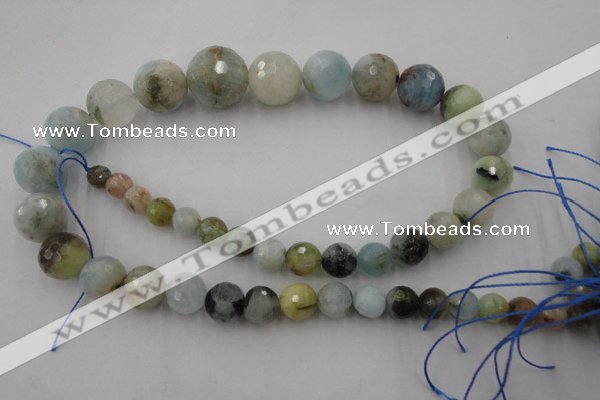 CAQ360 15.5 inches 7mm - 18mm faceted round natural aquamarine beads