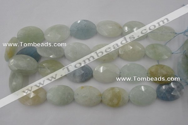CAQ388 15.5 inches 22*30mm faceted oval natural aquamarine beads