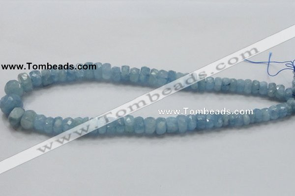 CAQ51 15.5 inches 6*12mm faceted rondelle natural aquamarine beads